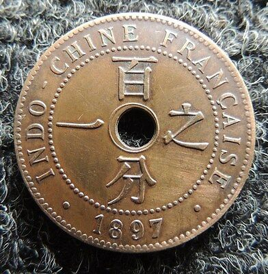 FRENCH  INDO  CHINA      1897     1 Cent       KM-8            NICE  EARLY  COIN