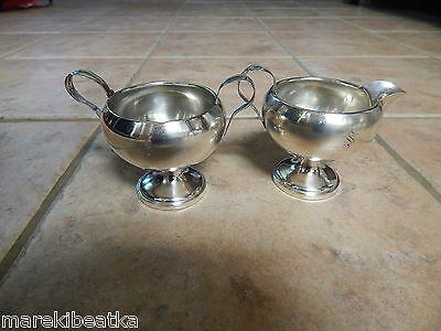 Antique  M. Fred Hirsch Sterling Silver  Sugar Bowl And Creamer W / Mono