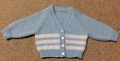 Very Cute Blue & White Cardigan To Fit  Baby Size 00