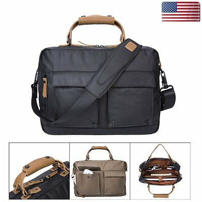 Mens Vintage Waterproof Canvas Briefcase Messenger  Handbag Shoulder Laptop Bag