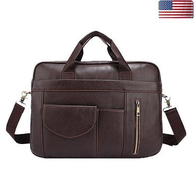 Mens Brown Genuine Leather Briefcase Handbag Laptop Shoulder Messenger Tote Bag