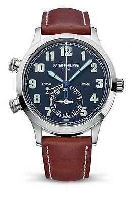 Patek Philippe 5524G Calatrava Pilot Travel Time White Gold on Strap Blue Dial