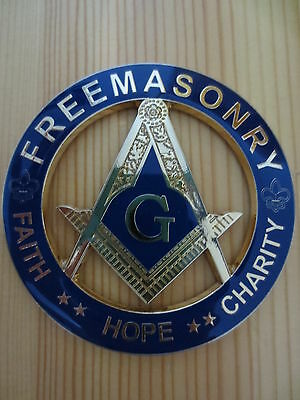 Masonic Auto Car Badge Emblems Blue E22 FAITH HOPE CHARITY FREEMASONRY