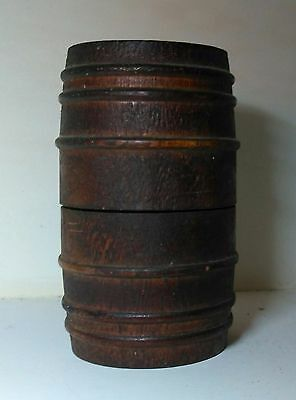 Antique Treen Barrell Bank Turned Wood Great Patina Surface