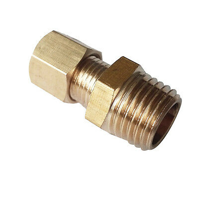 """1/4"""" OD * 1/4"""" NPT Male Straight Connector Brass Compression Fitting"""