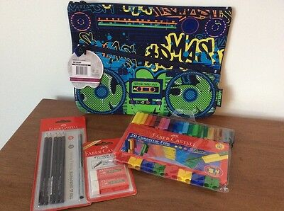 Faber-Castell textas, 2B pencils & erasers with pencil case. New. Glen Iris Vic.