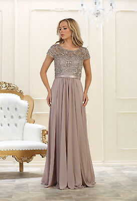 SHORT SLEEVE MOTHER of the Bride Long Dress Plus Size Formal Evening Gown