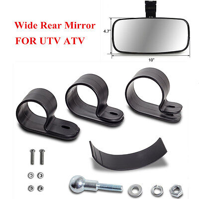 "8"" UTV ATV Center Rear View Mirror Off Road Large Adjustrable Wide ABS Housing"