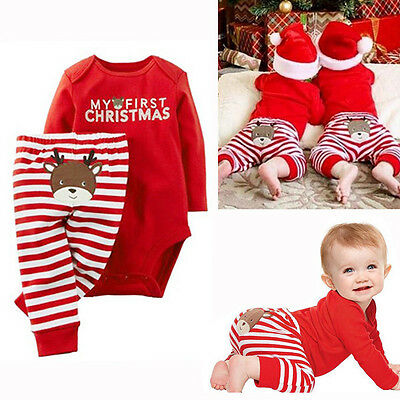 New Xmas Set Newborn Baby Boy Girls Top Romper Long Pants Outfits Clothes 0-18M