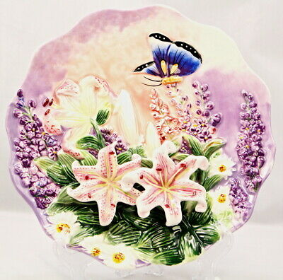 Function Art Butterfly And Lily Ceramic Decorative Plate