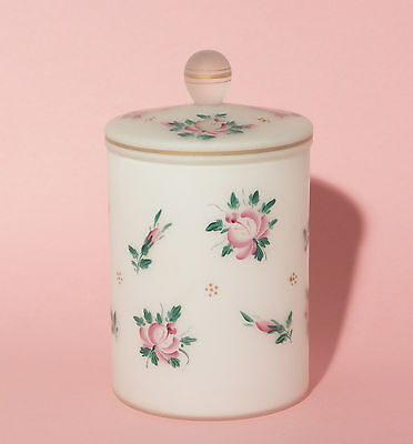 Lidded Florally Decorated Gilded Milk Glass Jar