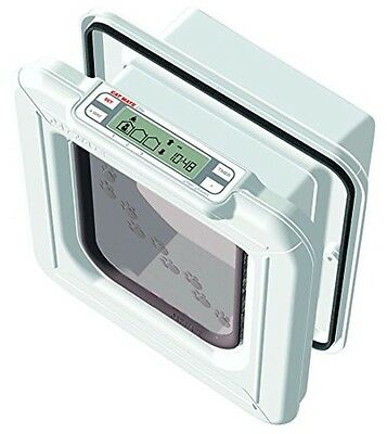 Cat Mate Elite Microchip Cat Flap with Timer Control - White Brand New