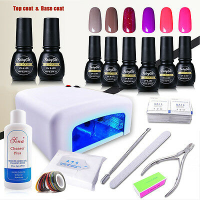 36W UV Nail Dryer Lamp 6 Colours Gel Polish Soak off Top Base Coat Tool Kits 7ml