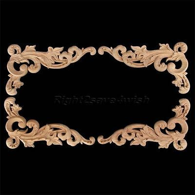 19*11cm Artistic Wood Carved Corner Onlay Applique Furniture Craft Home Decor