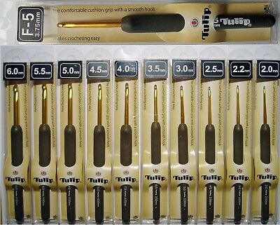 TULIP ETIMO T-15 Cushion Grip Aluminium Gold Crochet Hooks