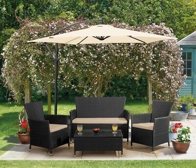 Rattan Garden Furniture Outdoor Patio 4pc Set 2 Seater Sofa Chairs Table NEW