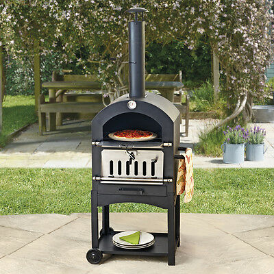 Outdoor Pizza Oven Charcoal BBQ & Smoker Garden Steel Chimney Grill Cooker NEW