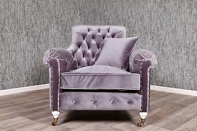 Baroque Chair Chesterfield Antique Solid Velvet Grey Furniture King's Vintage