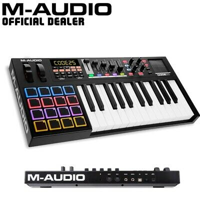 M-Audio Code 25 Black USB MIDI Studio Keyboard Controller with RGB Trigger Pads
