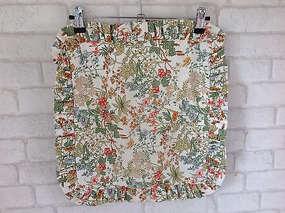 Vintage 1970's Green and Brown Wild Flower Berry Pattern Cushion Cover
