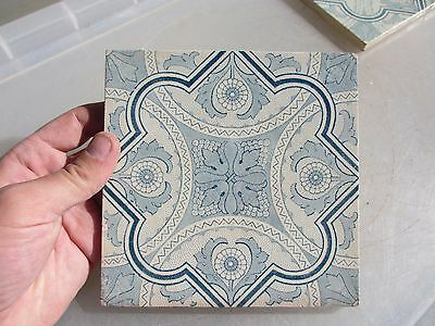 Vintage Ceramic Tile Blue & White Floral Architectural Antique Gilt Leaf Old  6""