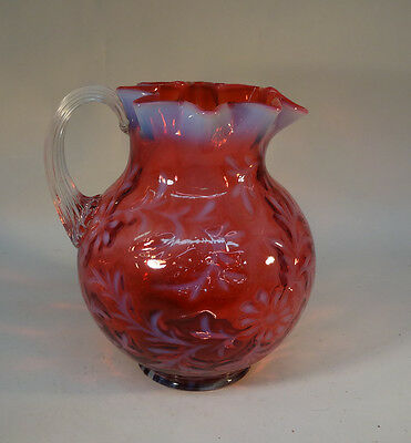 L G Wright Glass Cranberry Fern Jug Reeded Handle