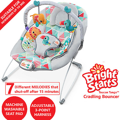 Bright Starts Baby Bouncer Infant Newborn Cradling Seat Rocker 7 Tunes Melodies