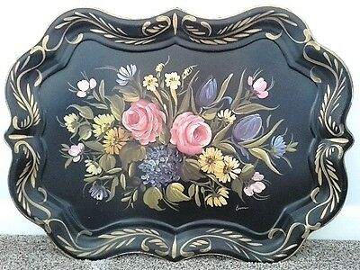 Antique Hand Painted Extra-Large Chippendale Fireplace Mantle or Wall Tole Tray