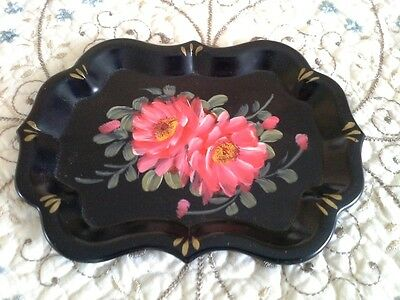 Vintage Hand Painted Country French Original Pink Tole Roses Dresser Vanity Tray