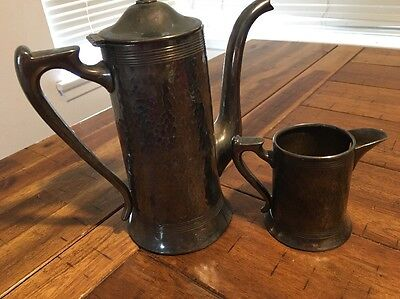 Silverplate Creamer And Pitcher Hand Hammered