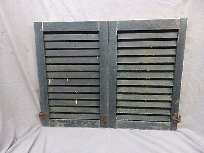 Pair Antique Small Window Wood Louvered Shutter Vintage Shabby 24x16 248-17P