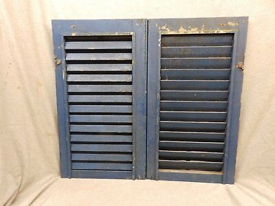 Pair Small Antique Blue Window Wood Louvered Shutter Vintage 30x17 251-17P