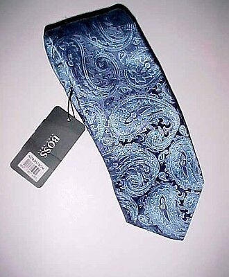 Hugo Boss Made in Italy Men's Blue Paisley 100% Silk Tie New NWT