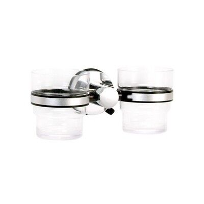 """Super Suction """"Axis"""" Chrome / Black Double Bathroom Tumbler/Toothbrush Holder 
