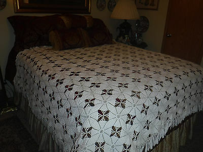 Antique Handmade Crochet Bed Cover Lace Throw Very Fine!