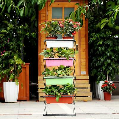 4 Tier Plant Stand Home Decor Folding Metal Flower Holder Indoor Outdoor A0Q6