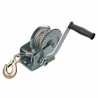 20M Heavy Duty 1200lb Hand Winch Manual Hook Cable Puller Boat ATV Trailer Hoist