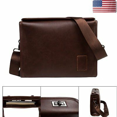 Men's Vintage Leather Briefcase Shoulder Bag Business Messenger Crossbody Bag