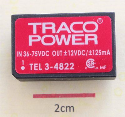 TRACO TEL 3-4822 3W Isolated DC-DC Converter Vin 36 to 75 Vdc Vout ±12Vdc ±125mA