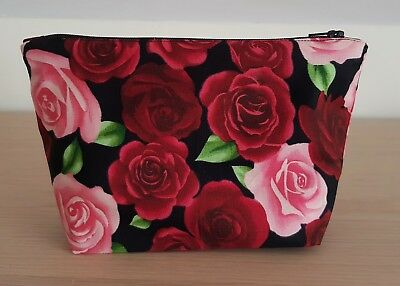 Red Pink Roses Make Up / Toiletries Travel Bag Case - Rockabilly Floral Gift