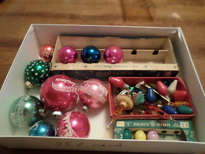 Lot #11 Of Vintage Christmas Ornaments And Bulbs Mercury Glass & Others