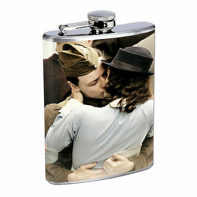 Vintage Couples Kiss D8 Flask 8oz Stainless Steel Hip Drinking Whiskey Retro