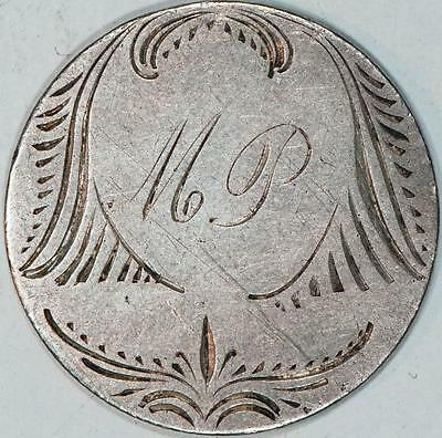 """""""MP"""" Initials Love Token On Seated Liberty Quarter With Rays Item#A404"""