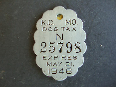 Dog License, 1945 Kansas City, Missouri, Tag, Tax, Metal, Neutered