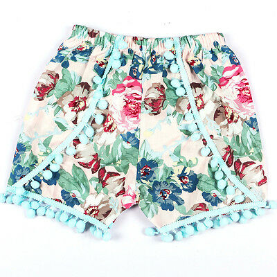 Infant Kids Baby Girl Summer Casual Beach Floral Print Tassels Shorts Pants 90