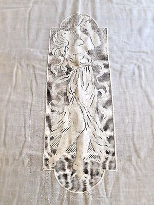 Antique Filet Crochet Linen BEDSPREAD - Cream Color - Woman playing Pipes