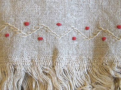 "Antique Woven Hemp Linen Table Cover with Feather Stitch Embroidery  40""  x  73"""