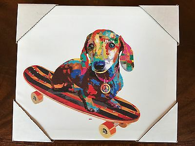"NEW Dachshund DOXIE Wiener Dog Graphic Wall ART PRINT on Wrapped CANVAS 12"" x 10"