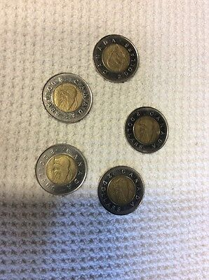 1996 canada 2 dollar coins LOT OF 5 *low Fixed Price!