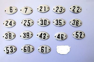 OLD  ENAMEL PORCELAIN TIN SIGN PLATE NUMBERS 6,7,21,22,23,24,25, and other